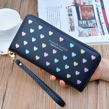 Woman's wallet Long Zipper flower Brand Leather Coin Purses love Design Clutch Wallets Female Money Bag Credit Card Holder 401