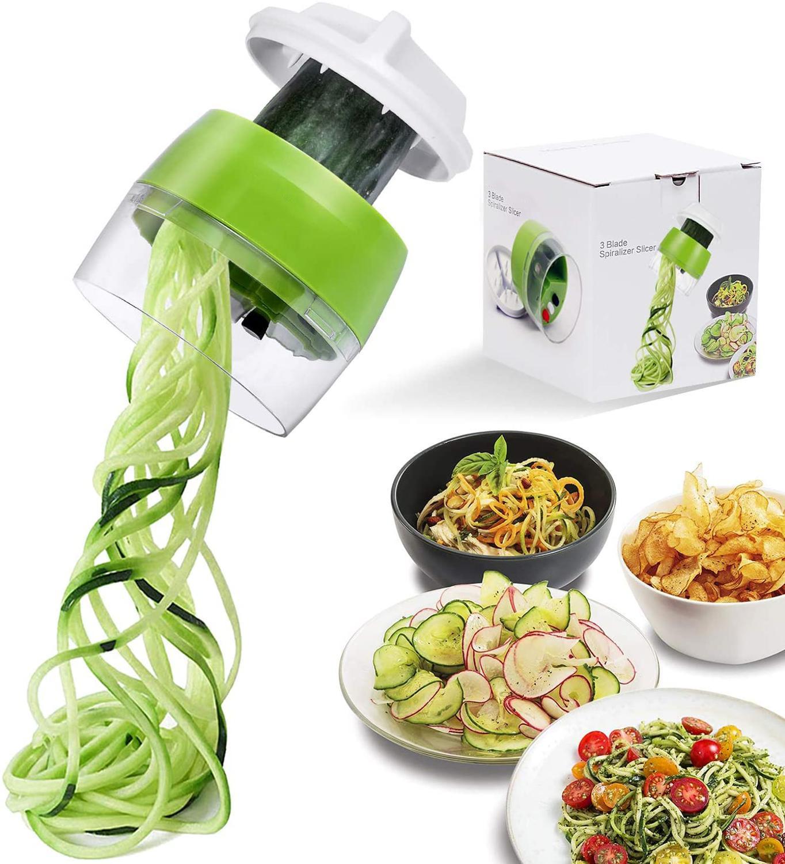 Ручной спиральный слайсер для овощей и фруктов 4 в 1 регулируемая спиральная Терка резак для салата инструменты лапша из цуккини для изготовления спагетти