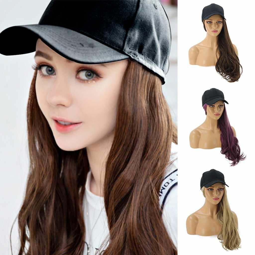 Long curlsWig Cap Long Hair Baseball Cap Ball Caps Casual Hat With Wig Women Loose Curly Hair Makeup Wigs
