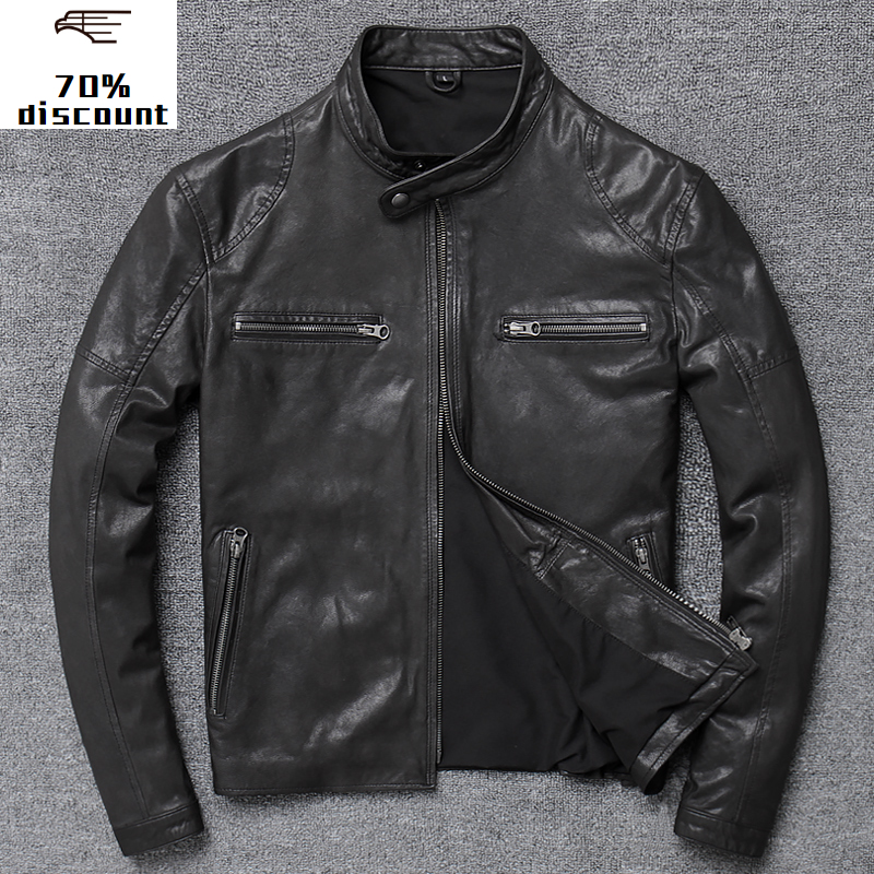 2020 New Leather Jacket Men Genuine Men's top layer leather cool abrigos hombre cow leather jacket