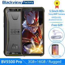 "Blackview a BV5500 Pro Smartphone IP68 impermeable 5,5 ""HD + Android 9,0 3GB 16GB teléfono móvil 8.0MP Cámara NFC resistente 4400mAh(China)"