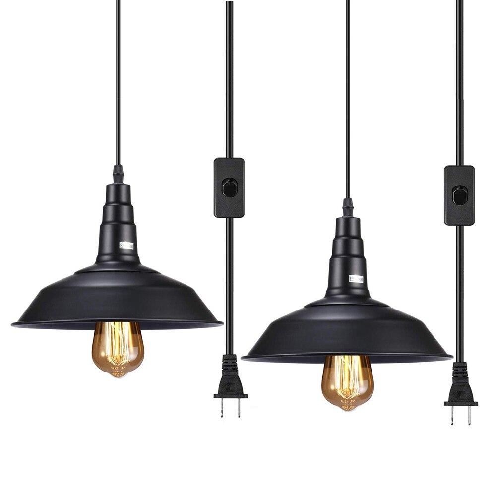 Industrial Pendant Lighta Plug In E26 E27 Base 5m Vintage Hanging Pendant Lighting Plug In Light Fixture For Living Room Bedroom