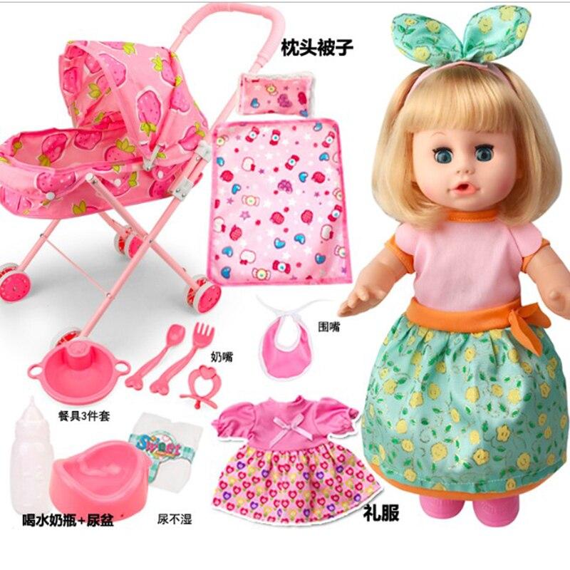 Bebe Reborn Baby Doll Cute Girl Talking Reborn Dolls With Stroller Trolley Blinking Drinking Newborn Babies Alive Lol Doll Toys