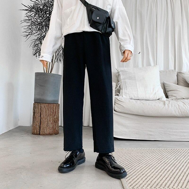 Network Red Pants Men's Korean-style Trend Straight-Cut Loose Pants Loose Casual Pants INS Drape Suit Pants Capri Pants Men's