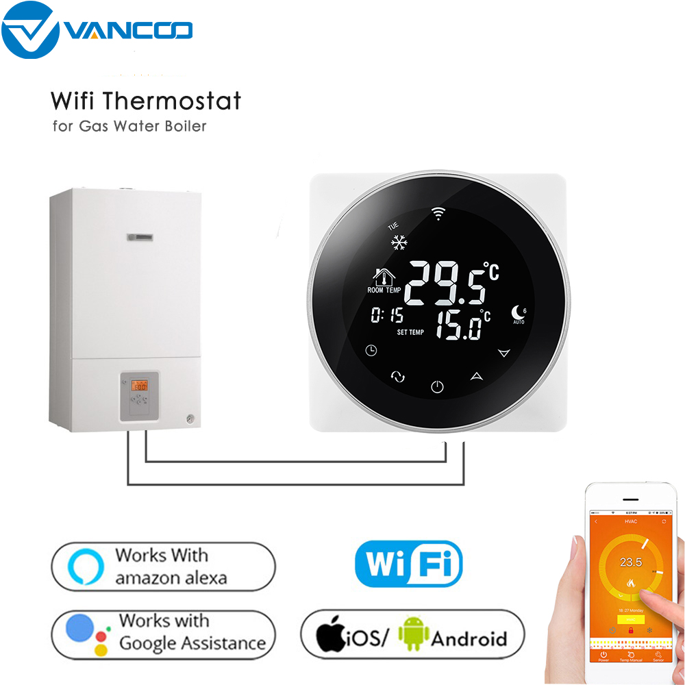 Vancoo WiFi Smart Thermostat Temperature Controller Gas Boiler / Electric Floor Heating Voice Controlled Thermostat 16A/3A