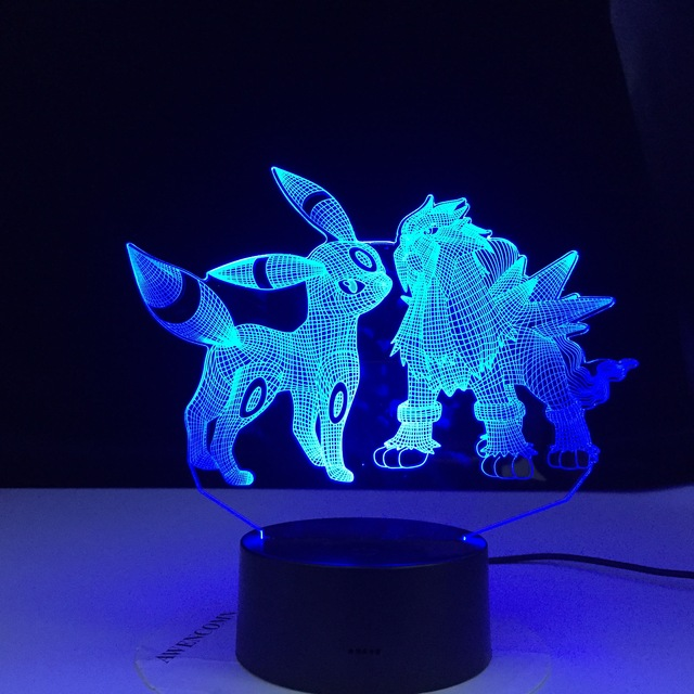 Luz Led de noche Umbreon y Entei para niños con Sensor táctil, luz colorida para dormitorio, mesa genial, lámpara 3d, regalo de luz segura de Pokemon