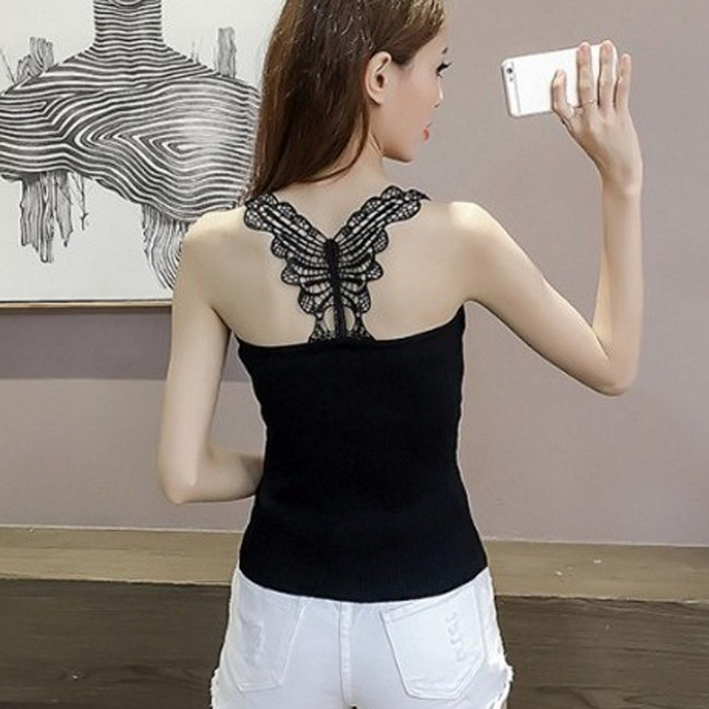 Women Tshirt Knitted Butterfly Applique Back Sleeveless Tank Tops Basic Tops Camiseta Mujer Haut femme Top Harajuku T Shirt 2020