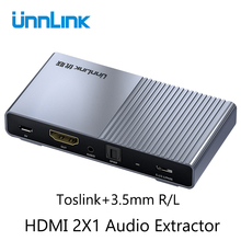 Unnlink HDMI 2,0 Audio Extractor 2 in 1 heraus 2x1 Schalter UHD 4K @ 60Hz HDCP 2,2 Split 5,1 ch SPDIF Toslink 2,1 ch 3,5mm ARC für PS4 TV