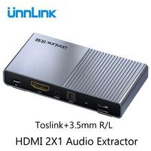 Unnlink hdmi 2.0 オーディオ extractor 2 で 1 アウト 2 × 1 スイッチ uhd 4 18k @ 60 hz HDCP2.2 分割 5.1ch spdif toslink 2.1ch 3.5 ミリメートルアークため PS4 テレビ
