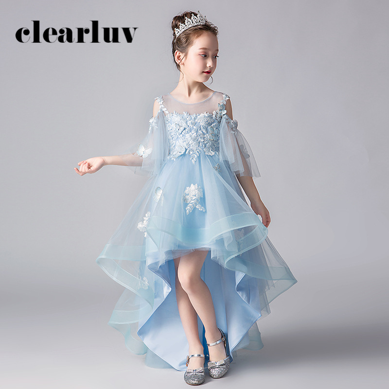Girls Princess Dresses B054 2020 O-Neck Tulle Flower Girl Dresses For Weddings Light Blue Appliques Flowers Kids Party Ball Gown