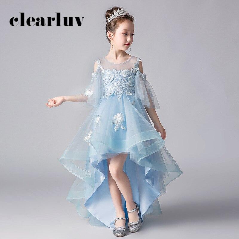 Girls Princess Dresses B054 2020 O-Neck Tulle Flower Girl Dresses For Weddings Light Blue Appliques Flowers Kids Party Ball Gown