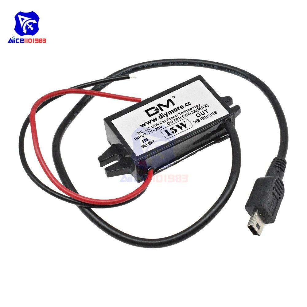 Diymore DC-DC понижающий преобразователь блок питания 12В до 5В 3а 15 Вт для автомобиля мужской женский USB мини USB Micro USB адаптер