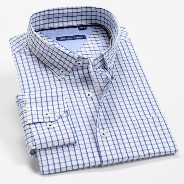 6XL 7XL 8XL 9XL 10XL 12XL Men's Business Casual Classic Plaid Long Sleeve Shirt Autumn Brand Clothing 100% Cotton Loose Shirt
