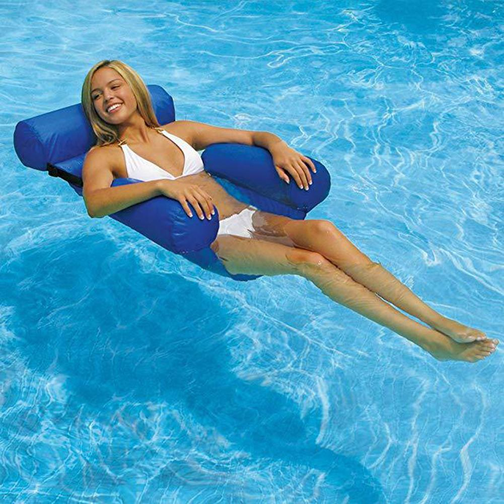 120cm Large Blue Swimming Pool Float Chair Portable Folding Swimming Ring Air Mattress Water Bed Accessories For Adults Children