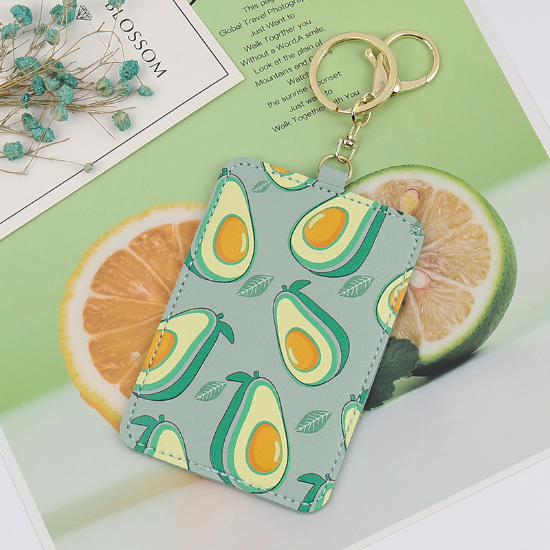 Summer Fresh Fruit Card Cover With Keyring Chain Fashion Card Bags Bank Credit Card Holder Cute Student ID Bus Card Pass Holder