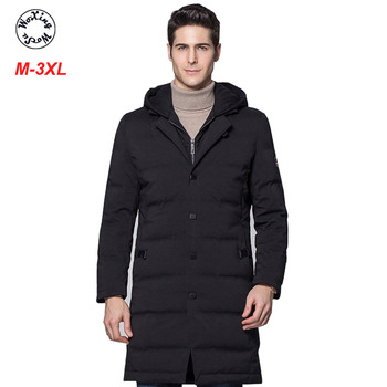 Winter Men Down Jacket Hooded Coat For Male Long Thickening Warm Down Jacket For Young Men недорого