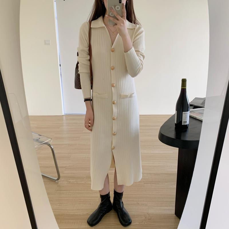 He690e91b517e4d7abde9a67aec23d873O - Autumn Turn-Down Collar Soft Slim Solid Long Sweater Dress