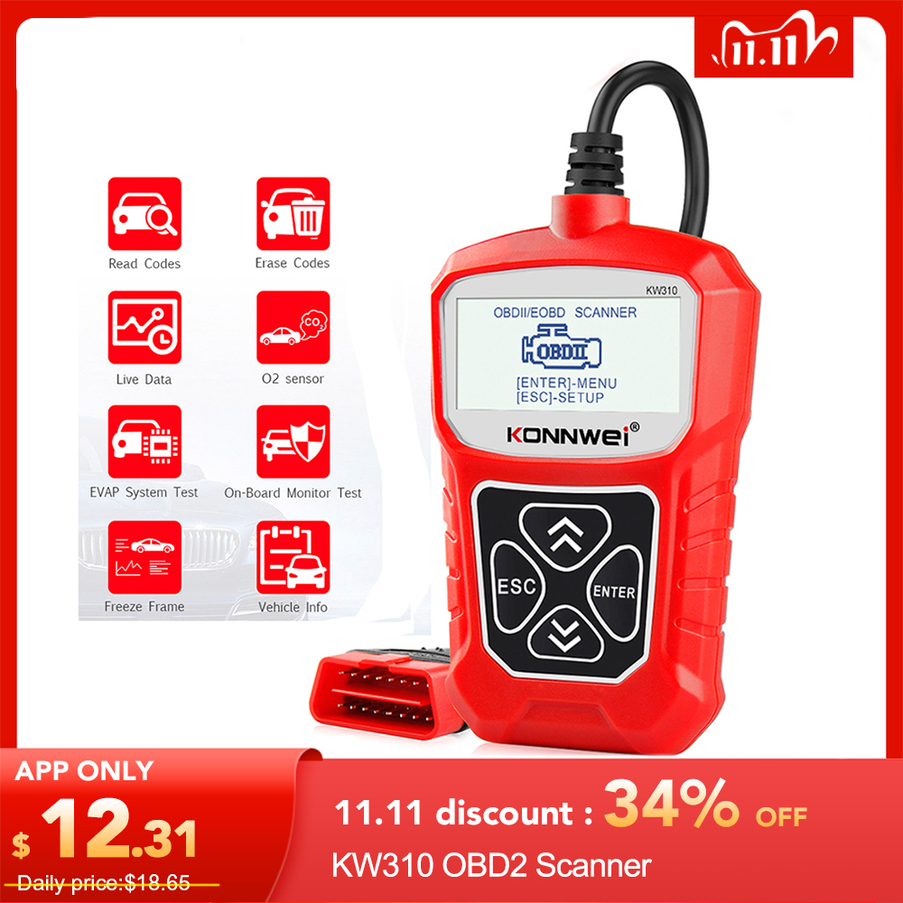 KONNWEI KW310 OBD2 Scanner OBD Universal Auto Diagnostic Tool Check Engine Code Reader Automotive Diagnostic Tool for Car ELM327