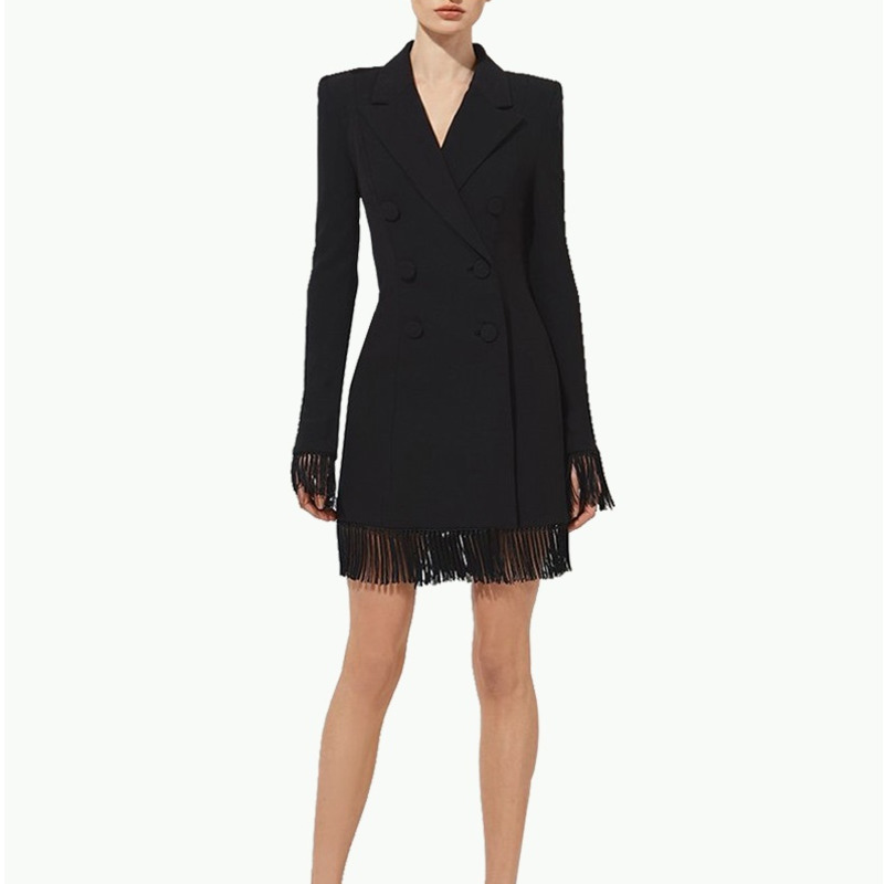 2020 New Summer Women Slim Trench Coats Black Deep V-Neck Double Breasted Coats  Sleeve Tassel Fashion Club Blazer Feminino
