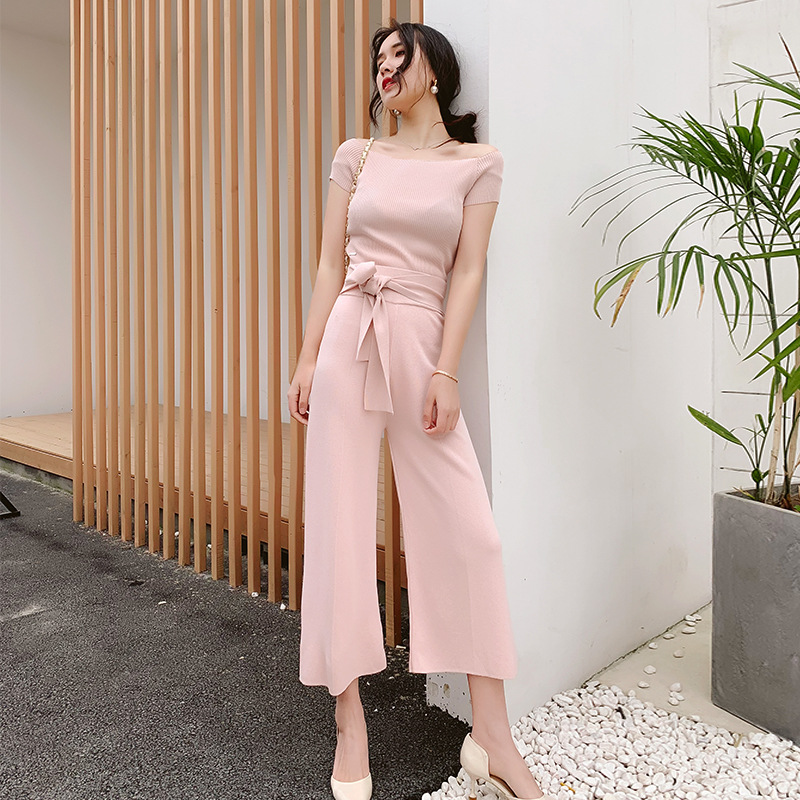 WOMEN'S Suit 2019 New Products Debutante Elegant Horizontal Neck Short Knitted Sweater High-waisted Slimming Loose Pants Two-Pie