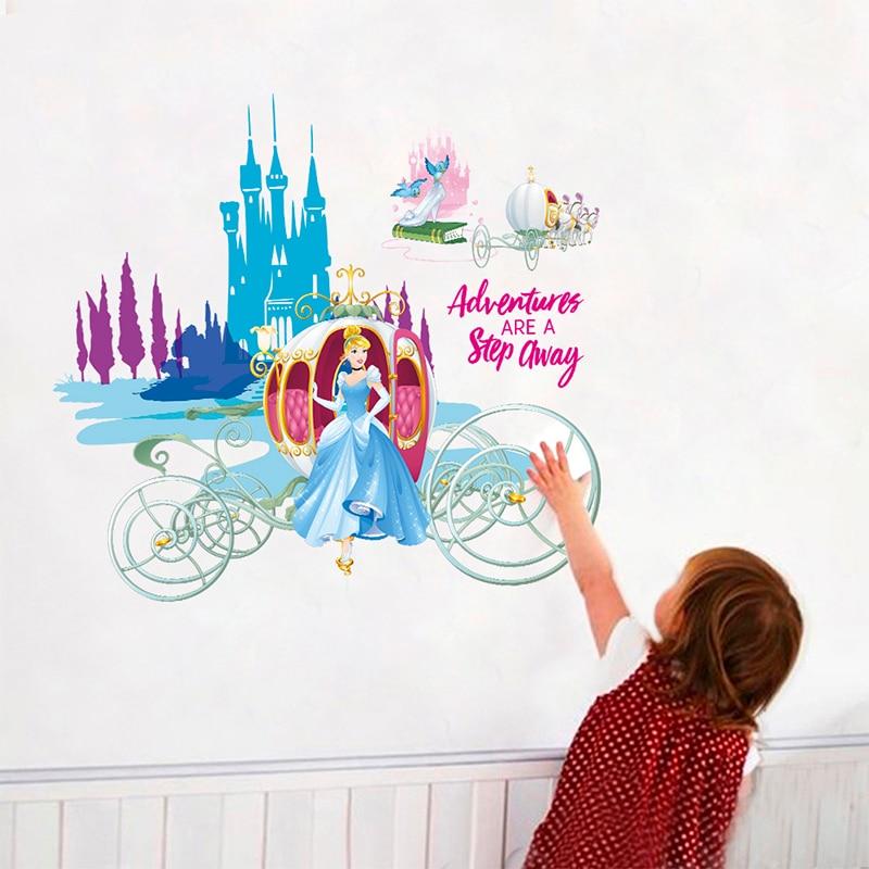 Disney Cartoon Cinderella Princess Castle PVC Wall Stickers For Home Decor Kids Room Girls Bedroom Cupboard Mural Art Decoration