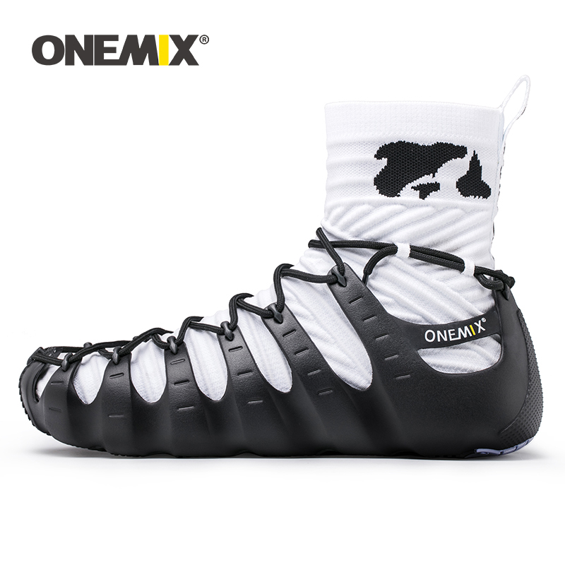 ONEMIX Walkiing Schuhe für Männer Casual High Top Socke Schuhe Original Persönlichkeit Frauen Gladiator Sandalen Outdoor Trekking Turnschuhe