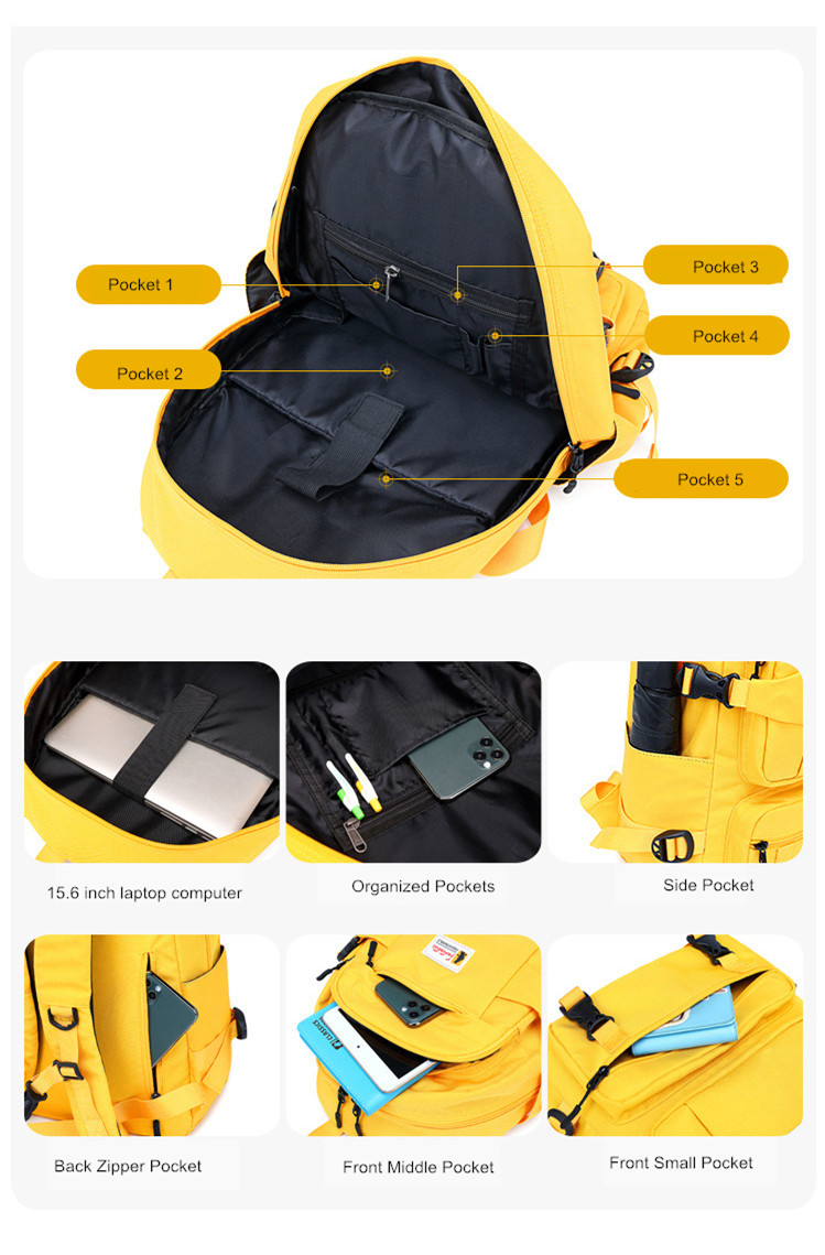 Fengdong fashion yellow backpack children school bags for girls waterproof oxford large school backpack for teenagers schoolbag 4