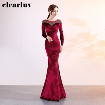 Crystal Evening Dress Burgundy Women Party Dresses DX305-3 Plus Size Slim Robe De Soiree 2020 Long Sleeved Velour Formal  Dress