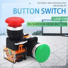 Momentary Mushroom Cap Push Button Switch Self Reset No Lock Round 1NO1NC button Silver contact 22mm LA38-11M 1PCS