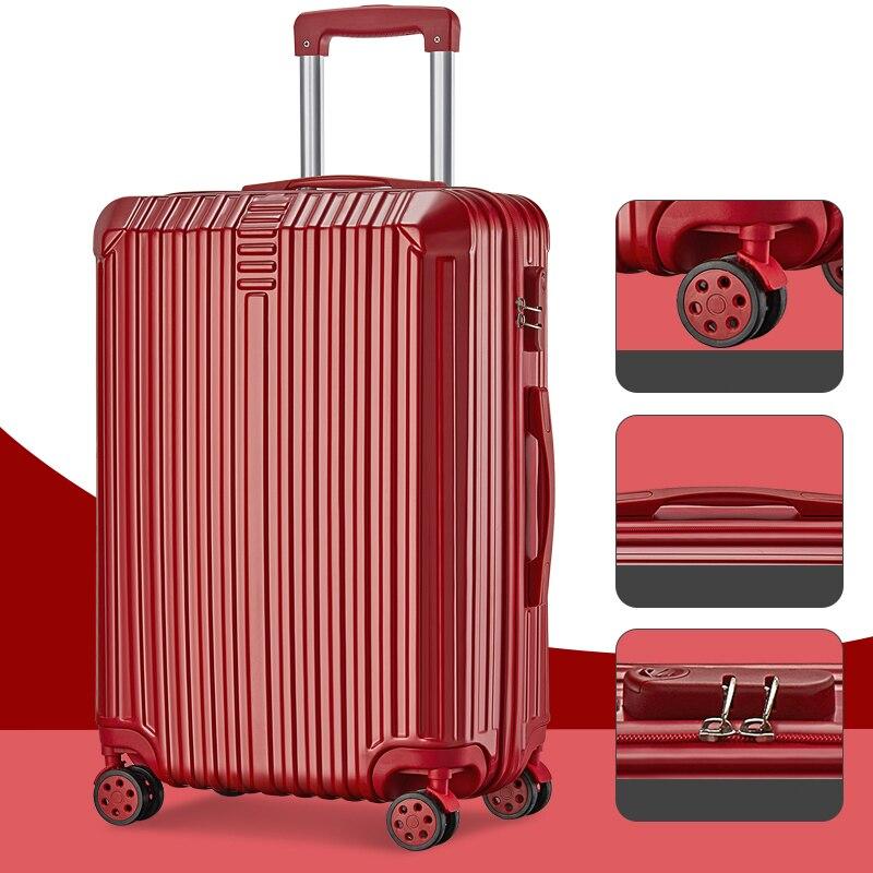 Super moda nueva maleta de viaje maleta de negocios caja de la carretilla En la rueda de aluminio marco duro maleta silenciosa - 5