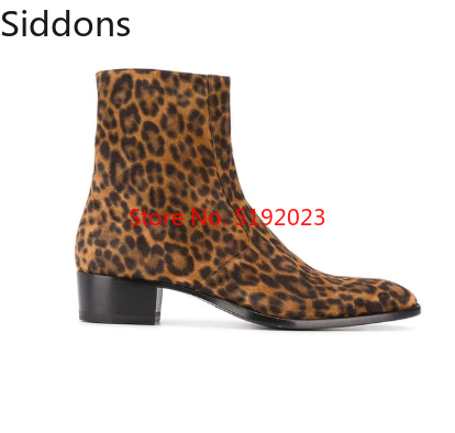 Leopard Print Leather Boots Fashion Ankle Boots Men Chelsea Boots  Mens Chelsea Boots  Zapatos De Hombre D309