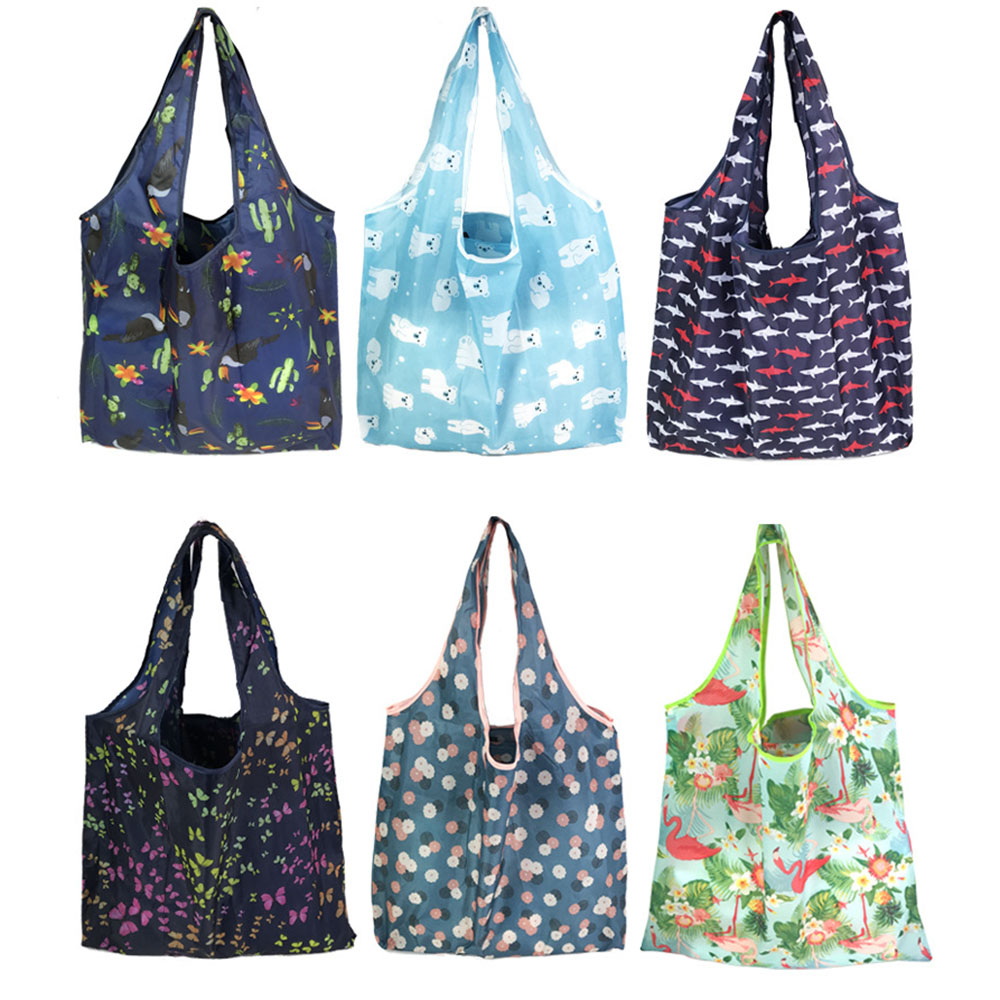 New 18 Colors Shopping Bag Lady Foldable Oxford Cloth Reusable Fruit Grocery Pouch Recycle Organization Bag