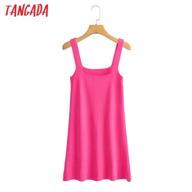 Tangada Fashion Women Solid Elegant Purple Short Knit Dress Sleeveless 2021 Summer Ladies Dress AI57 6