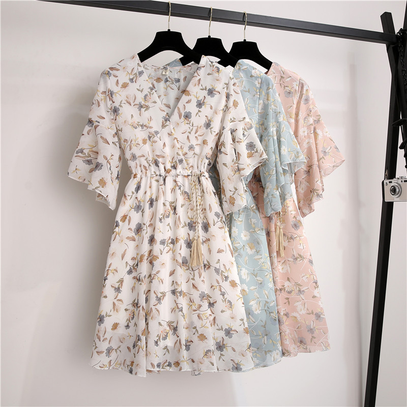 Spring Summer Chiffon Dress Women Knee Length V-Neck Print Dresses Sweet Ruffle Sleeeve Slim New Casual Drawstring Women Dress