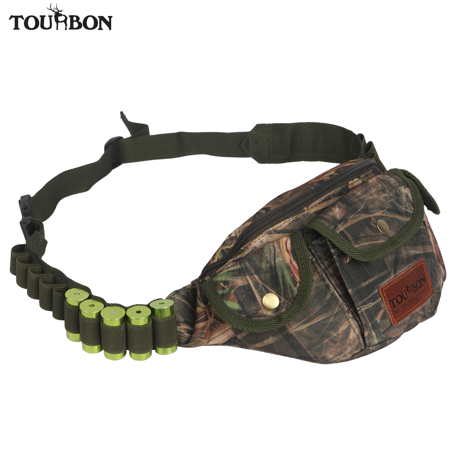 Tourbon Tactical Outdoor Hunting Shotgun 12 Gauge Cartridges Ammo Shells Bullet Belt Bag Waist Pouch Camo Sports Camping Hiking