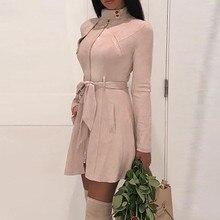 Female trench coat women's windbreaker тренч Fashion Solid Turtleneck Zippe