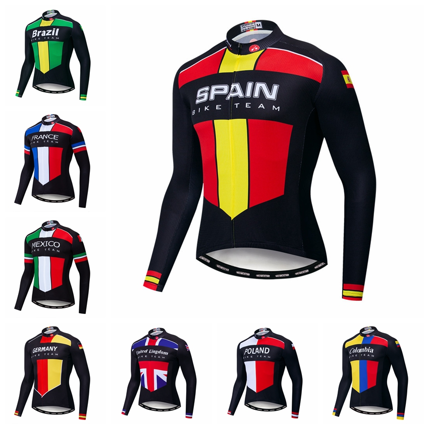 2019 Pro Team Cycling Jersey Men Long Sleeve MTB Bike Jersey Tops Spain Brazil Country Bicycle Clothing Racing Shirt Maillot