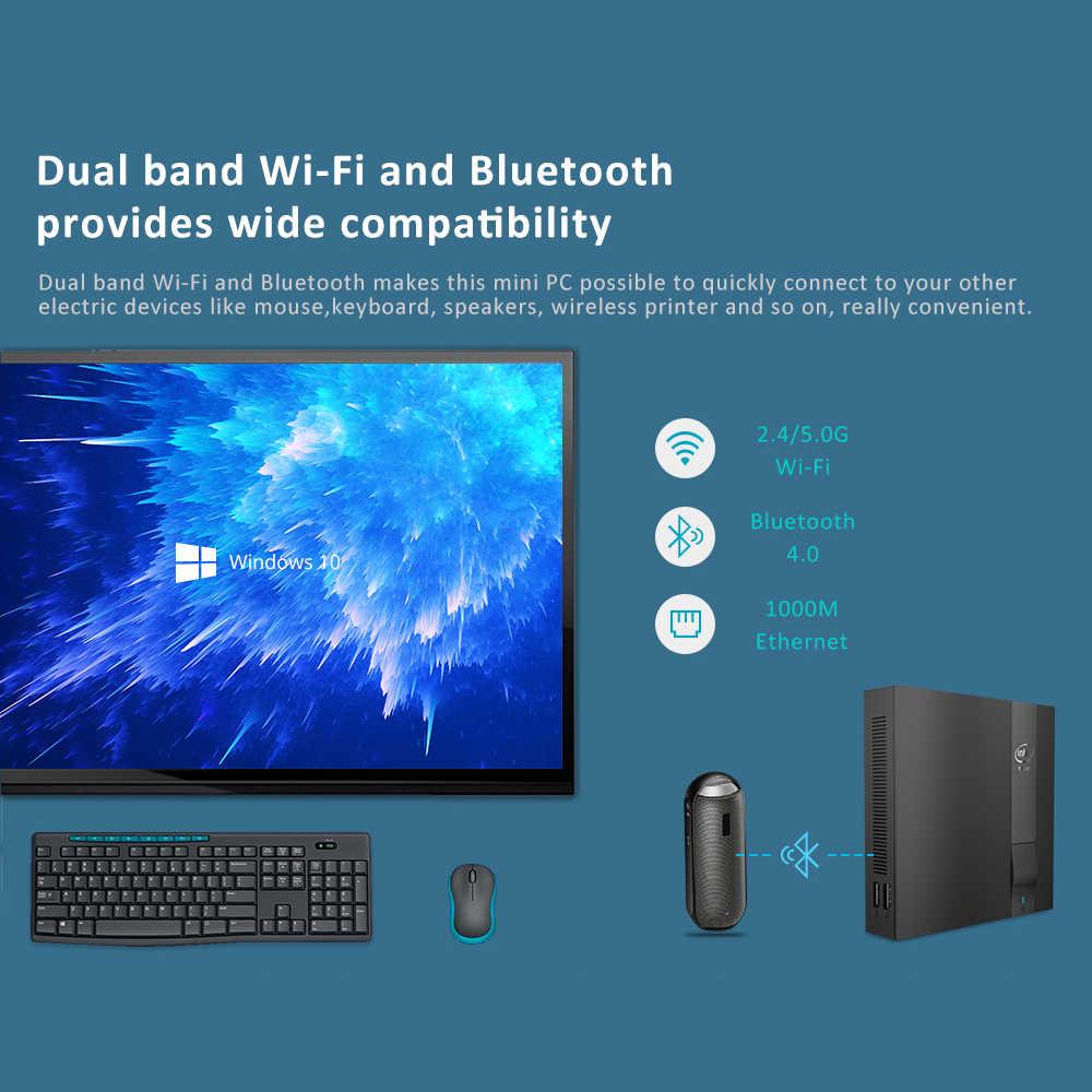 Xcy Mini PC Intel Celeron J3455 4 Nhân Windows 10 M.2 SSD HDMI VGA 4K 2.4/5.0 wifi 4 * USB Loại C Linux TV Box Máy Tính Mini