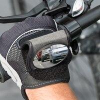 الدراجات قابل للتعديل الرؤية الخلفية دراجة مرآة المعصم العملي النايلون نصف اصبع قفازات المدمجة المحمولة سهلة تطبيق مع جيب| |   -
