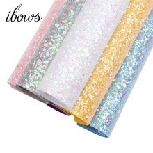 IBOWS 22CM*30CM Glitter Fabric Shiny Faux Leather Sheets For Bows Handmade Decoration Crafts Materials Bag Shoes Accessories ahb synthetic leather glitter printed unicorn shiny fabric faux leather sheets diy hair bows fabric handmade crafts materials