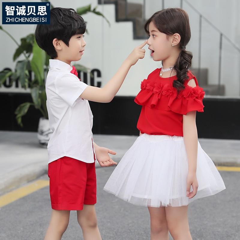 Kindergarten Suit Summer Set Young STUDENT'S School Uniform Performance Wear Choral Service Princess Group Clothes Treasure Chil