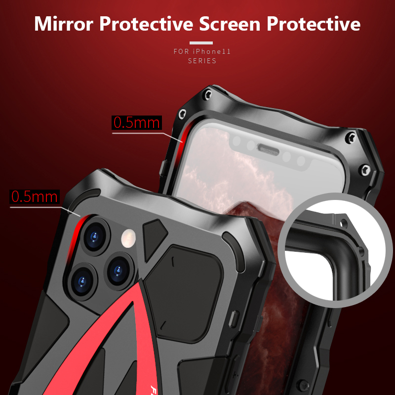 For iPhone 11 Pro XS Max XR Case,LUPHIE Metal Armor Rosdster Phone Case 360°All Round Coverage Protection Cool Travelling Cover 6