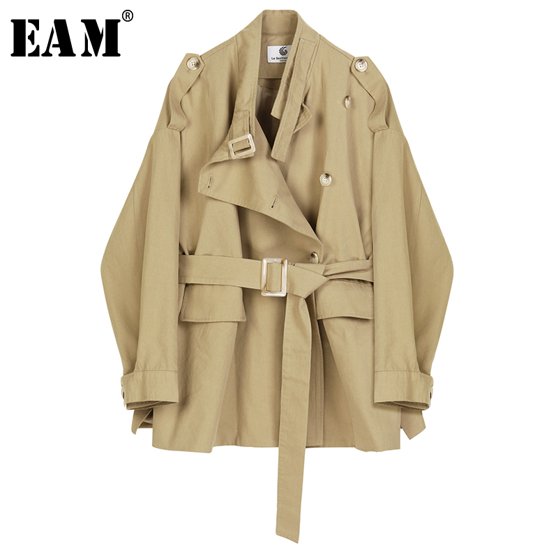 [EAM] Women Khaki Waistbelt Big Size Trench New Stand Collar Long Sleeve Loose Fit Windbreaker Fashion Autumn Winter 2019 1B459