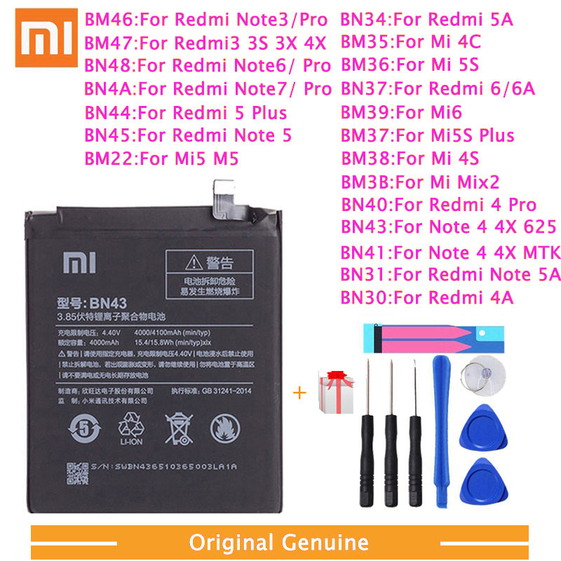 Xiao <font><b>Mi</b></font> Original Phone <font><b>Battery</b></font> For Xiaomi Redmi 3 Pro 3S 3X Note 4 4X 4A 5A 6 6A 7 <font><b>Mi</b></font> <font><b>5</b></font> 6 4S <font><b>Mi</b></font> 2 5S Plus Replacement <font><b>batteries</b></font> image