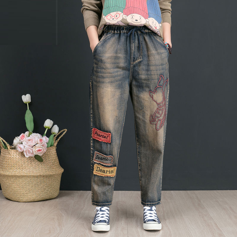 Autumn New Arts Style Women Jeans Plus Size Vintage Embroidery Patchwork Loose Cotton Denim Harem Pants High Quality D554