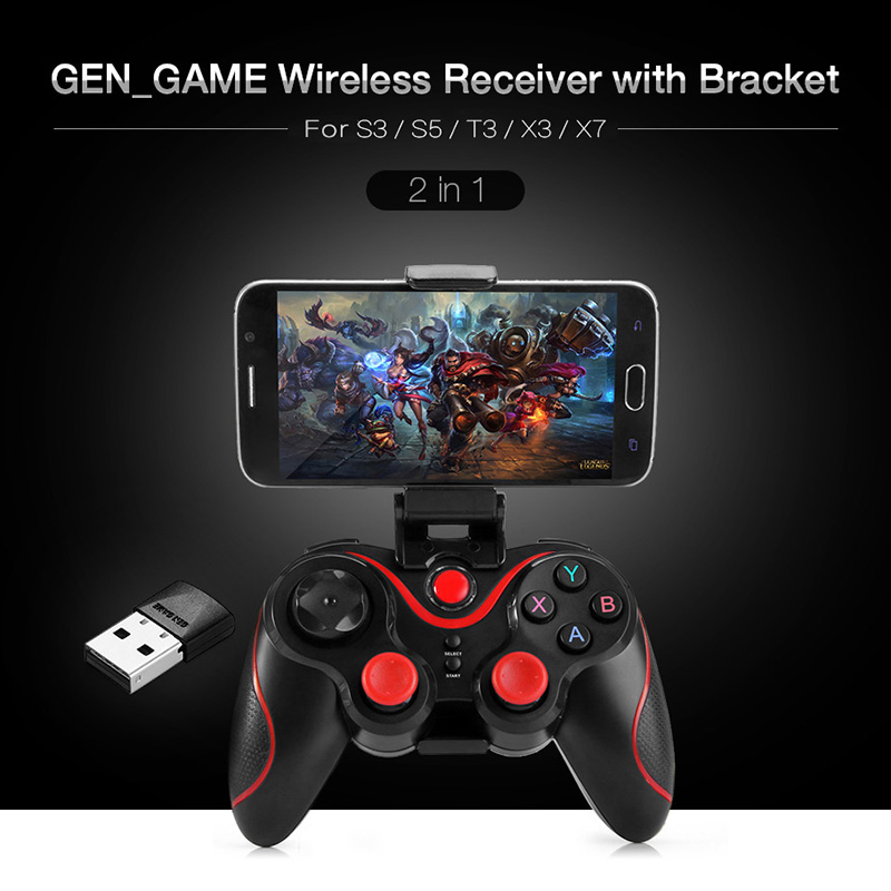 2 In 1 Gamepad Accessories Kits Game Pad Wireless Bluetooth Receiver Adapter Adjustable Bracket Clip Set For GEN GAME S3 S5 T3
