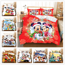 Red Christmas Mickey Minnie Bedding Set  Duvet Cover Pillowcase Children Gift King Size Comforter Sets