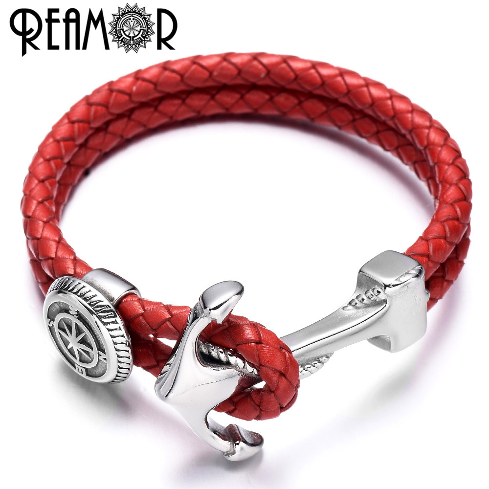 REAMOR Genuine Leather Men & Women Bracelets Bangles Stainless steel Compass Shield Bead Anchor Connector Charm Bracelet Jewelry