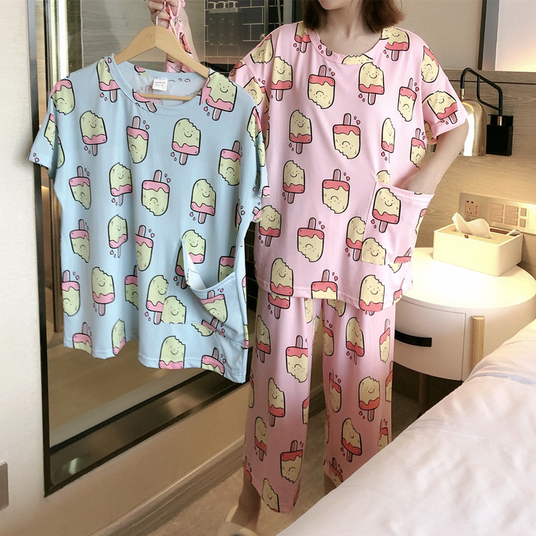 Cloth Bag Pajamas Female Summer Short Sleeve Long Powder Ice Cream M -Xxl Selfie Original 2-Color