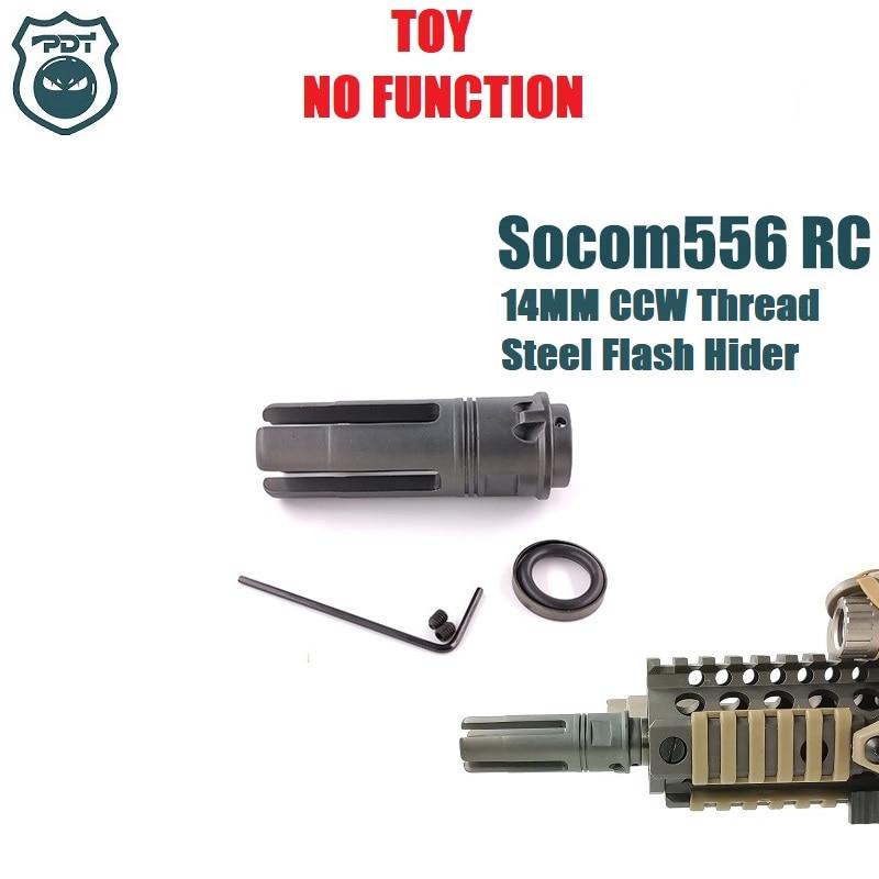 14MM CCW Thread Steel Metal Surefire Socom 556 RC Flash Hider NO Function Muzzle Device For Water Gel Ball Blaster Airsoft  AEG